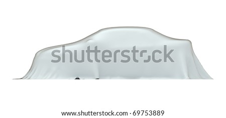 Car under cloth, side view, isolated on white with clipping path, 3d illustration - stock photo