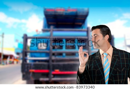 car used salesperson selling old car as brand new - stock photo