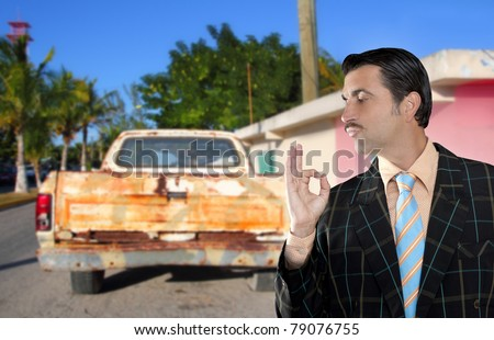 car used salesperson selling old car as brand new truck salesman typical topic ok gesture [Photo Illustration] - stock photo