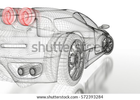 Car Vehicle 3 D Blueprint Mesh Model Stock Illustration 572393284 ...