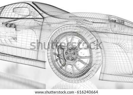Car Vehicle 3 D Blueprint Mesh Model Stock Illustration 616240664 ...