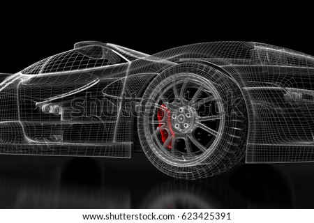 Car vehicle 3d blueprint mesh model ilustracin en stock 623425391 car vehicle 3d blueprint mesh model with a red brake caliper on a black background malvernweather Choice Image