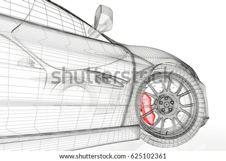 Car vehicle 3 d blueprint mesh model stock illustration 625102361 car vehicle 3d blueprint mesh model with a red brake caliper on a white background malvernweather Image collections