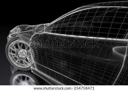 Car vehicle 3d blueprint model on a black background. 3d rendered image - stock photo