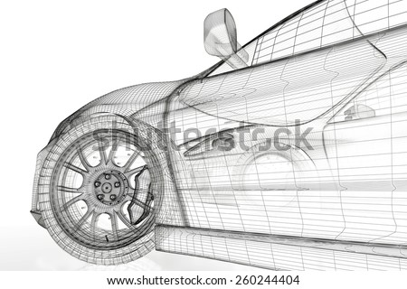 Car vehicle 3 d blueprint model on stock illustration 260244404 car vehicle 3d blueprint model on a white background 3d rendered image malvernweather Image collections