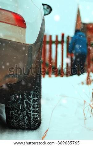 car village in winter - stock photo