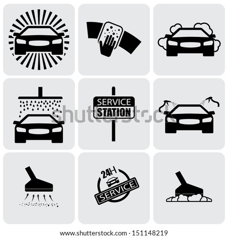 car wash icons ( signs ) set of cleaning car- graphic. This illustration represents nine symbols of washing and cleaning in a 24 hour service station - stock photo