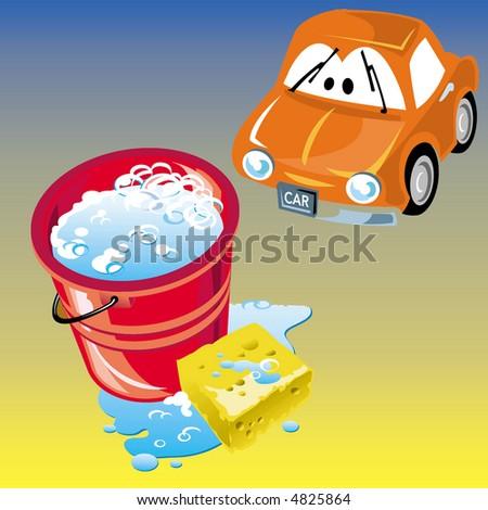 Car wash illustration - stock photo