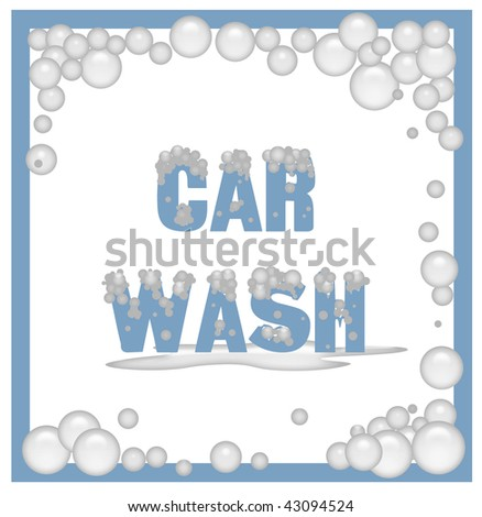 car wash poster covered in soap bubbles illustration - stock photo