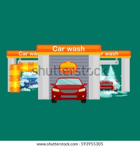 car wash services auto cleaning water stock illustration 593953316 shutterstock. Black Bedroom Furniture Sets. Home Design Ideas