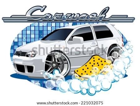 Car Washing sign with sponge - stock photo