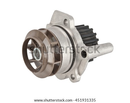 Car water pump ( roller and fan ) with timing belt and bolts isolated on white background. Automobile spare part - stock photo