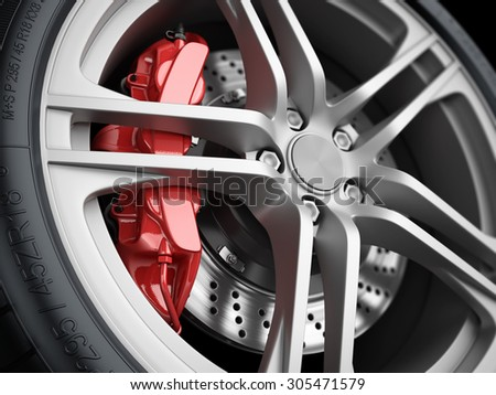 Car wheel and brake system. Red caliper, sport tire. Closeup. Illustration 3d - stock photo