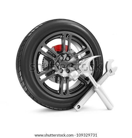 Car Wheel and Tools isolated on white background. Car Service Concept - stock photo