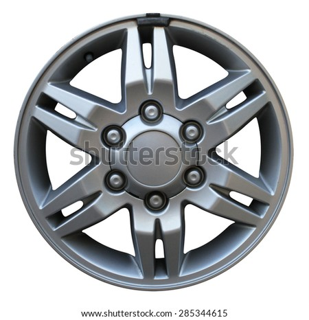 Car wheel, Car alloy rim on white background, Wheel isolated on white