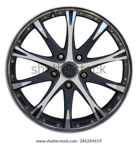 Car wheel, Car alloy rim on white background, Wheel isolated on white - stock photo