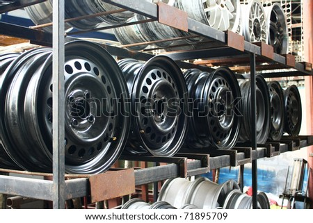 Car wheel. close up for design work - stock photo
