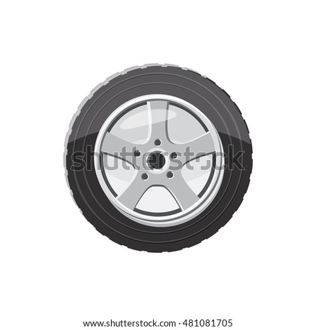 Car wheel icon in cartoon style on a white background