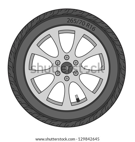 Car Wheel,  illustration - stock photo