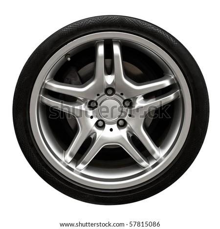 Car wheel isolated on white - stock photo