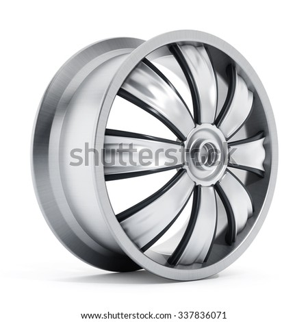 white wall tire and hubcap car wheel isolated on white background