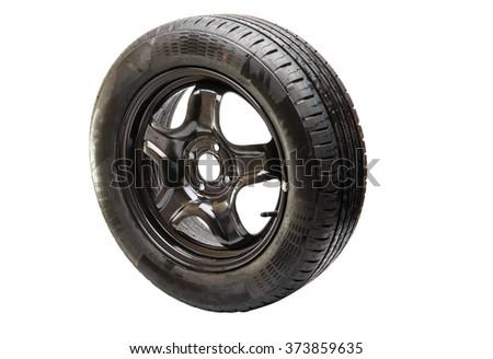 car wheel isolated on white background - stock photo