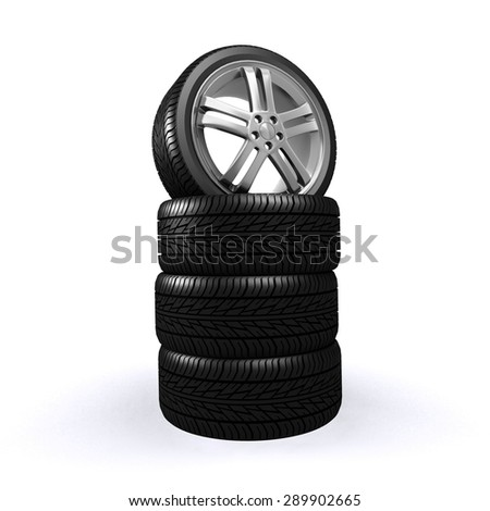 Car wheel isolated on white background, vehicle part. - stock photo