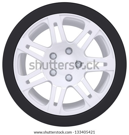 Car wheel. Isolated render on a white background - stock photo