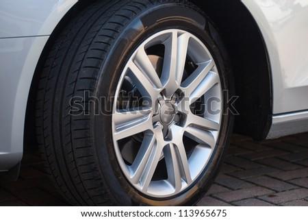 Car wheel on a car - stock photo