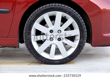 Car wheel on a car  - stock photo