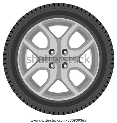 Car wheel raster isolated, car tire, transport wheel
