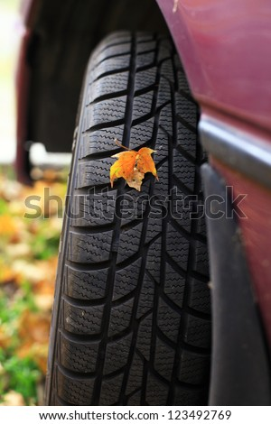 Car wheel tyre with leaf - stock photo