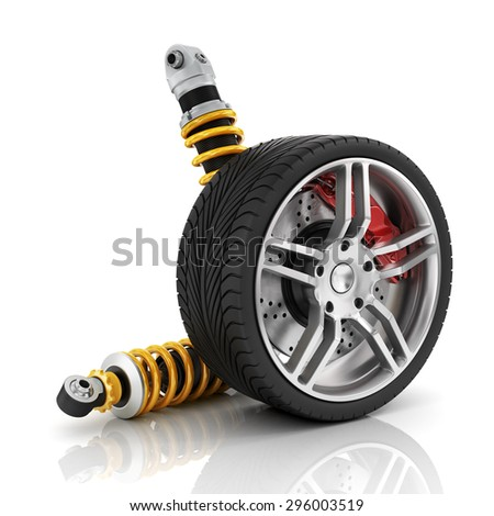 Car wheel with brakes, absorbers, tires and rims on the white background. - stock photo