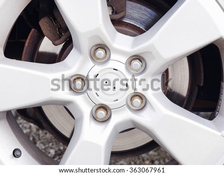 Car wheel with rims detail. - stock photo