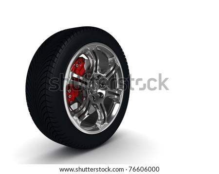 Car wheel with steel rims reflections on white background. High quality 3d render with. - stock photo