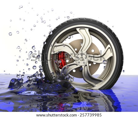 Car wheel with water splash isolated on white background. 3d render - stock photo