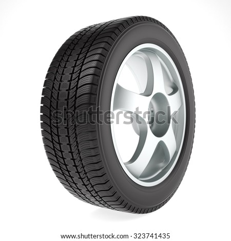 Car wheel with winter tire on white background