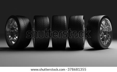 Car Wheels. Concept design. 3D render Illustration on Dark Background.  - stock photo