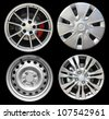 Car wheels, isolated on black background (Save Paths for design work) - stock photo
