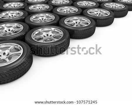 Car Wheels isolated on white background with place for your text - stock photo
