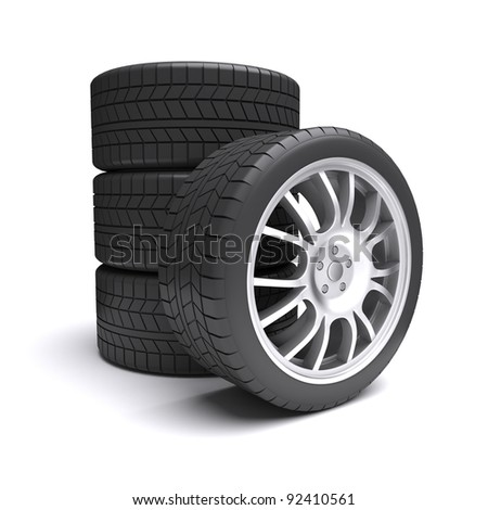 Car wheels on a white background. 3d rendered image - stock photo