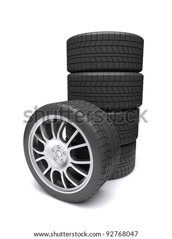 Car wheels on a white background. 3d rendered image