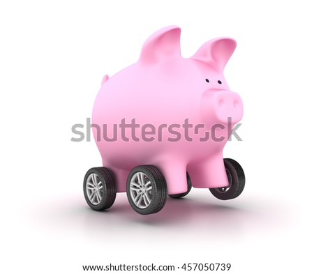Car Wheels on Piggy Bank on White Background  - High Quality 3D Rendering / Illustration