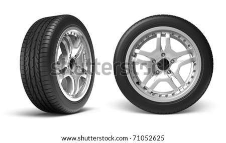Car wheels on white background. Clipping path included. - stock photo