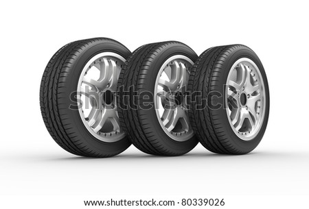 Car wheels on white background. Computer generated image - stock photo