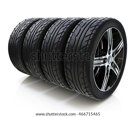 Car wheels on white background in the design of information related to motor transport. 3d illustration