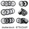 Car wheels on white background. Set. - stock photo
