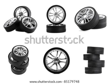 Car wheels on white background. Set. - stock photo
