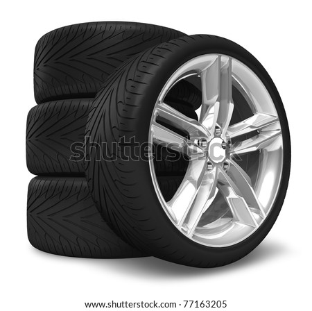 Car wheels set - stock photo