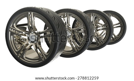 Car Wheels, tires isolated on white background. 3D render - stock photo